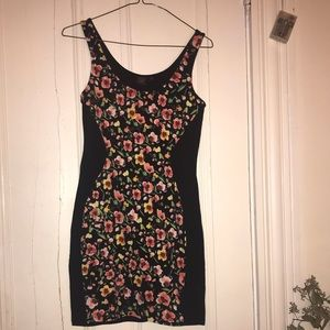 Black dress with floral accent